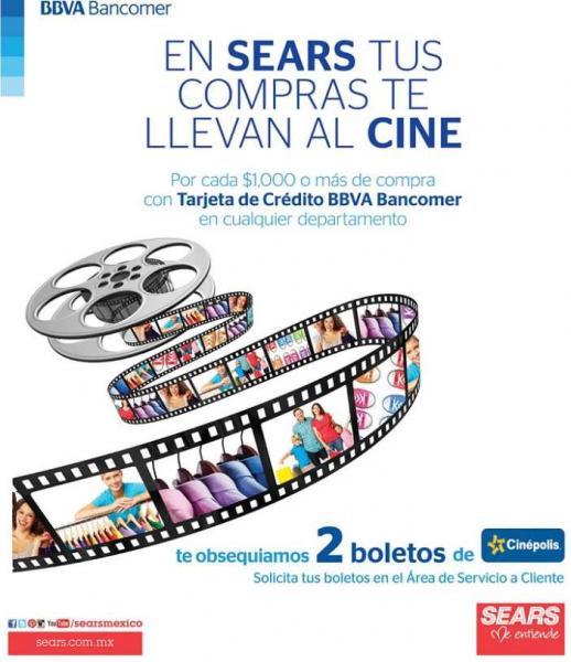 Sears: 2 boletos para Cinépolis pagando compra con Bancomer