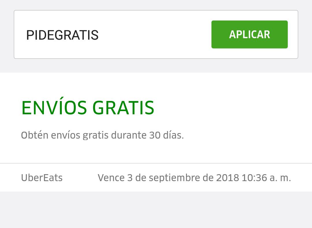 Uber Eats: Envíos gratis 1 mes algunas cuentas