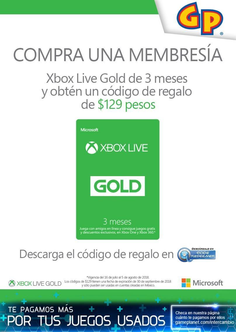 Game Planet: Compra Gold 3 meses y recibe código de $129