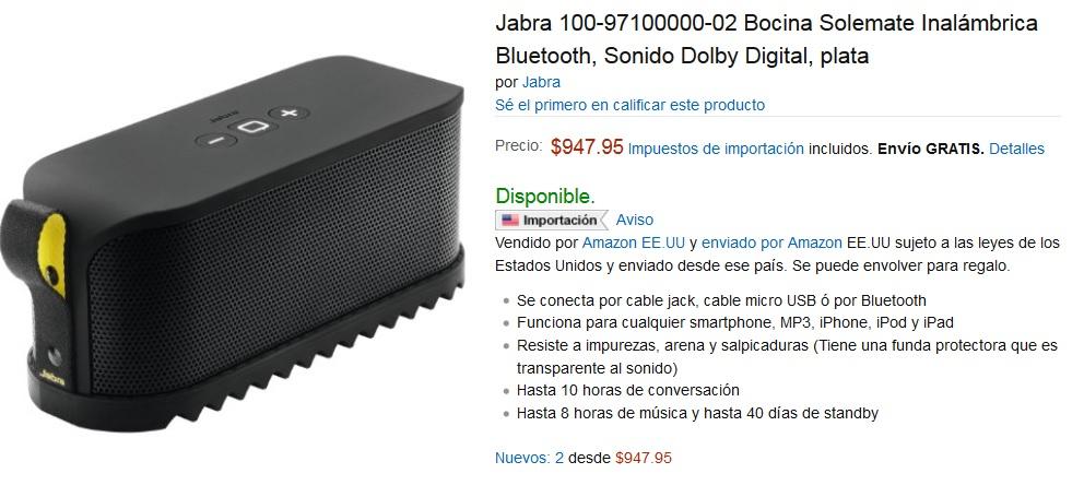 Amazon: Bocina Wireless Jabra Solemate - Negra