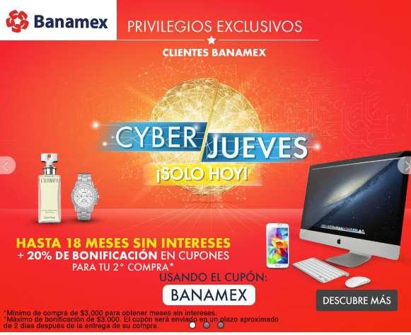 Linio Cyber Jueves Banamex: 20% de bonificación y 18 meses sin intereses