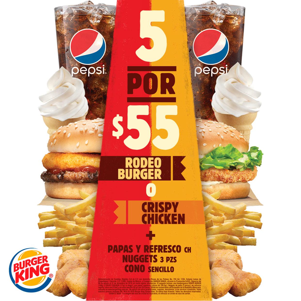 Burger King: Hamburguesa (Rodeo Burger ó Crispy Chicken) + refresco + papas + cono + 3 nuggets por $55