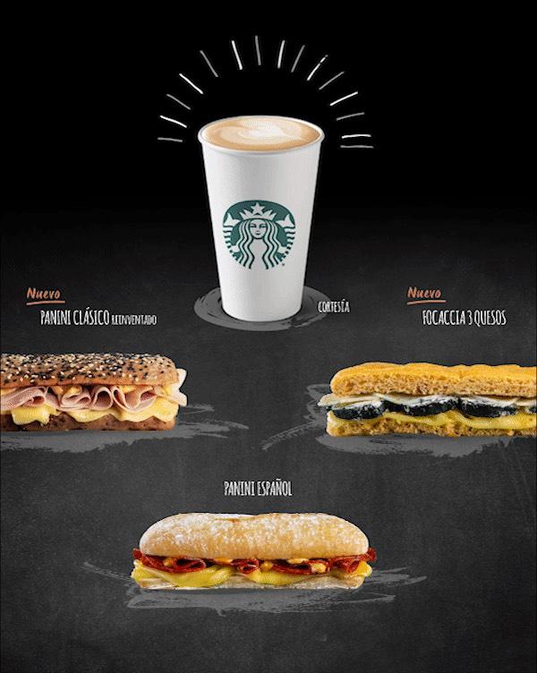 Starbucks: Café a base de expreso de cortesía en la compra de un Panini