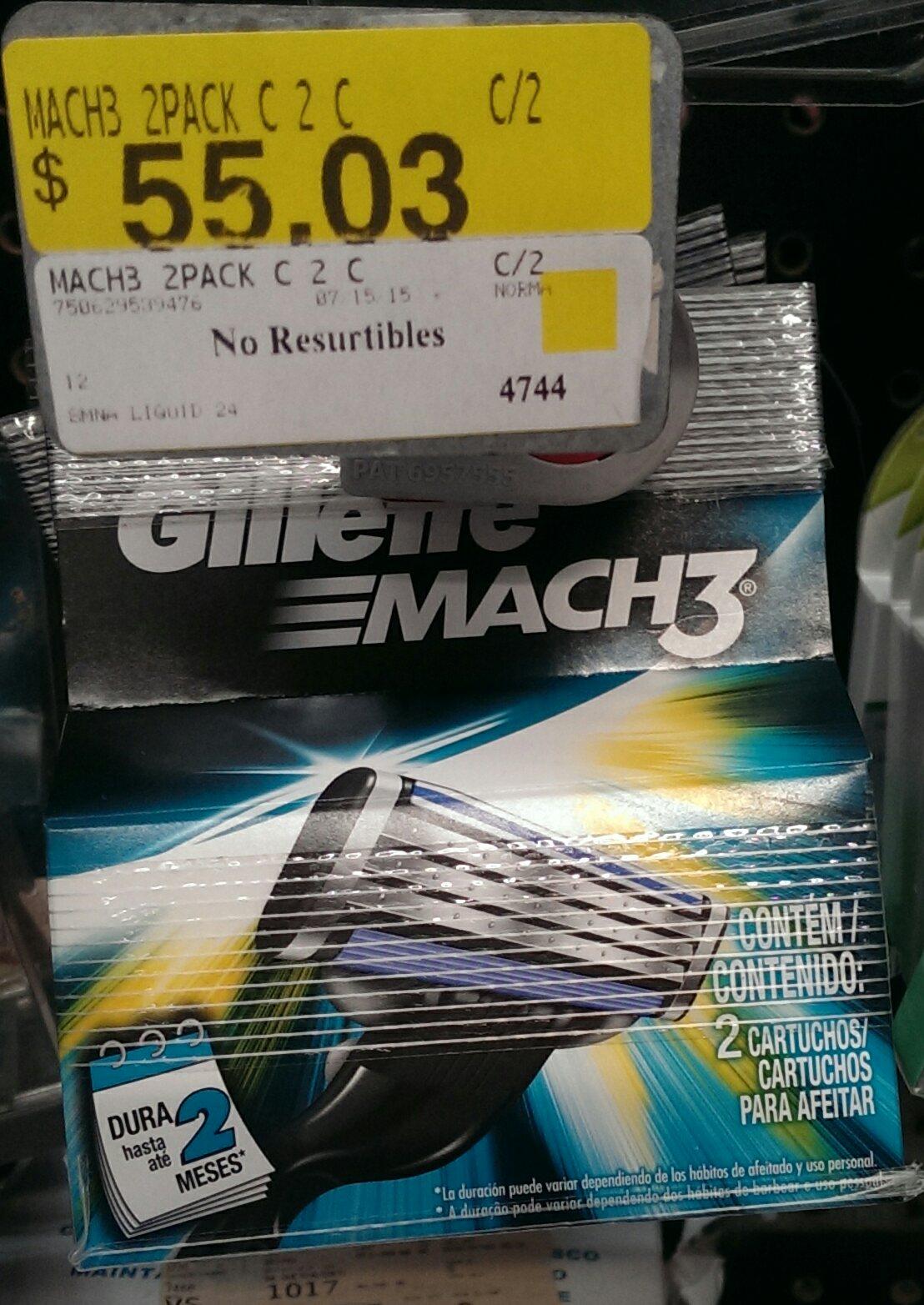Bodega Aurrera: 2 cartuchos Mach3 en $55.03