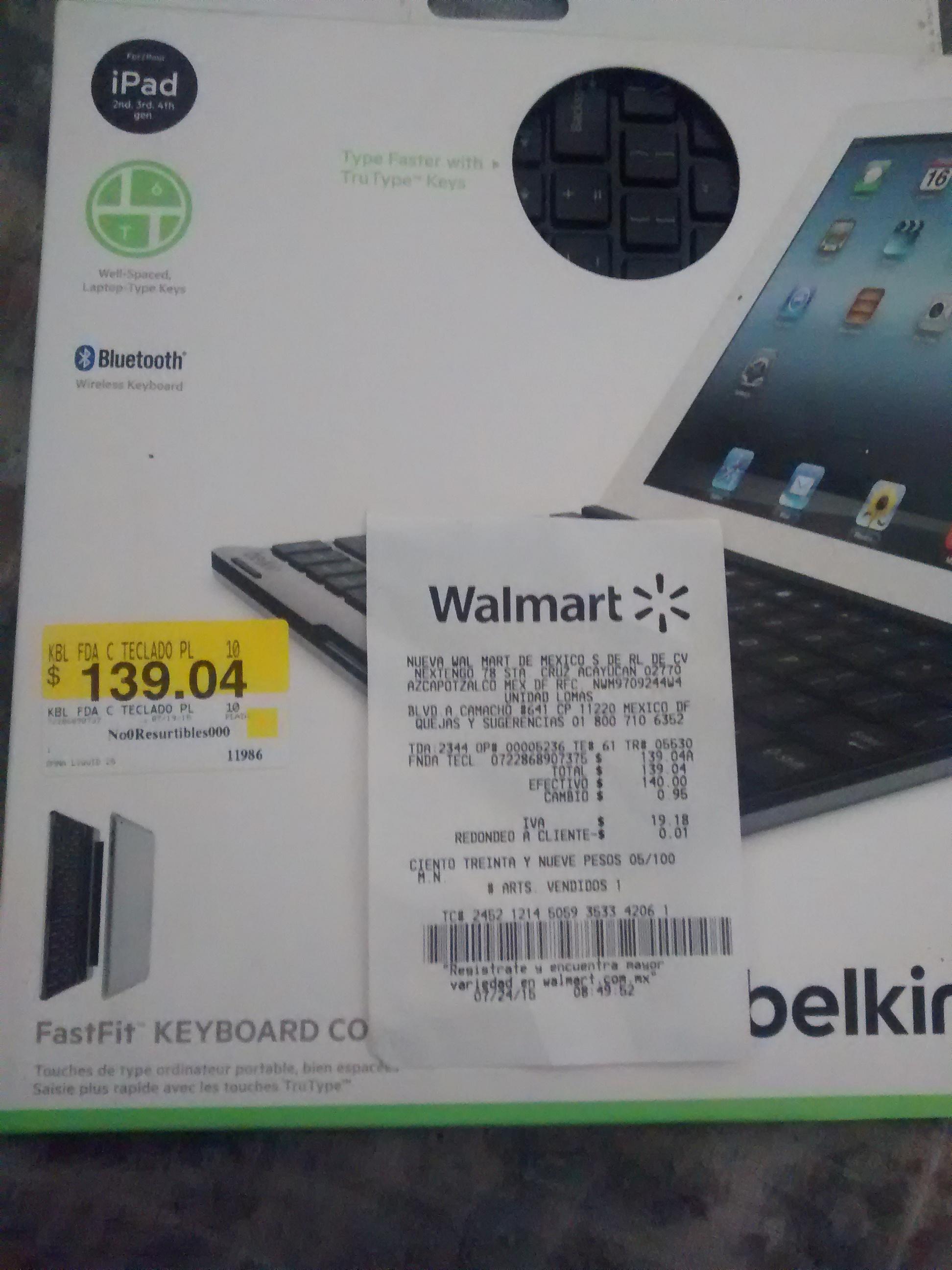 Walmart: TECLADO INALMBRICO PARA IPAD $139.04