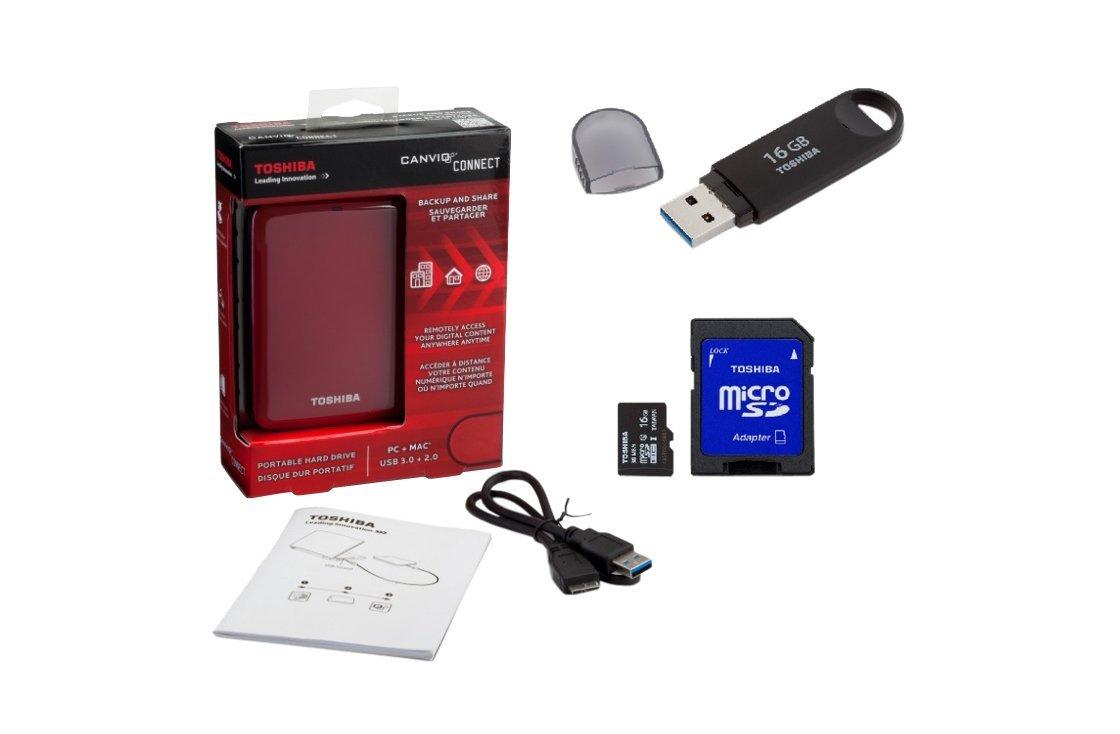 Amazon: Toshiba HDTC710MR16-BDL Paquete Disco Duro Externo, 1TB Canvio, USB 3.0 Connect (16GbB USB + 16GB MicroSD 10 + 10GB Alm. en Nube), rojo