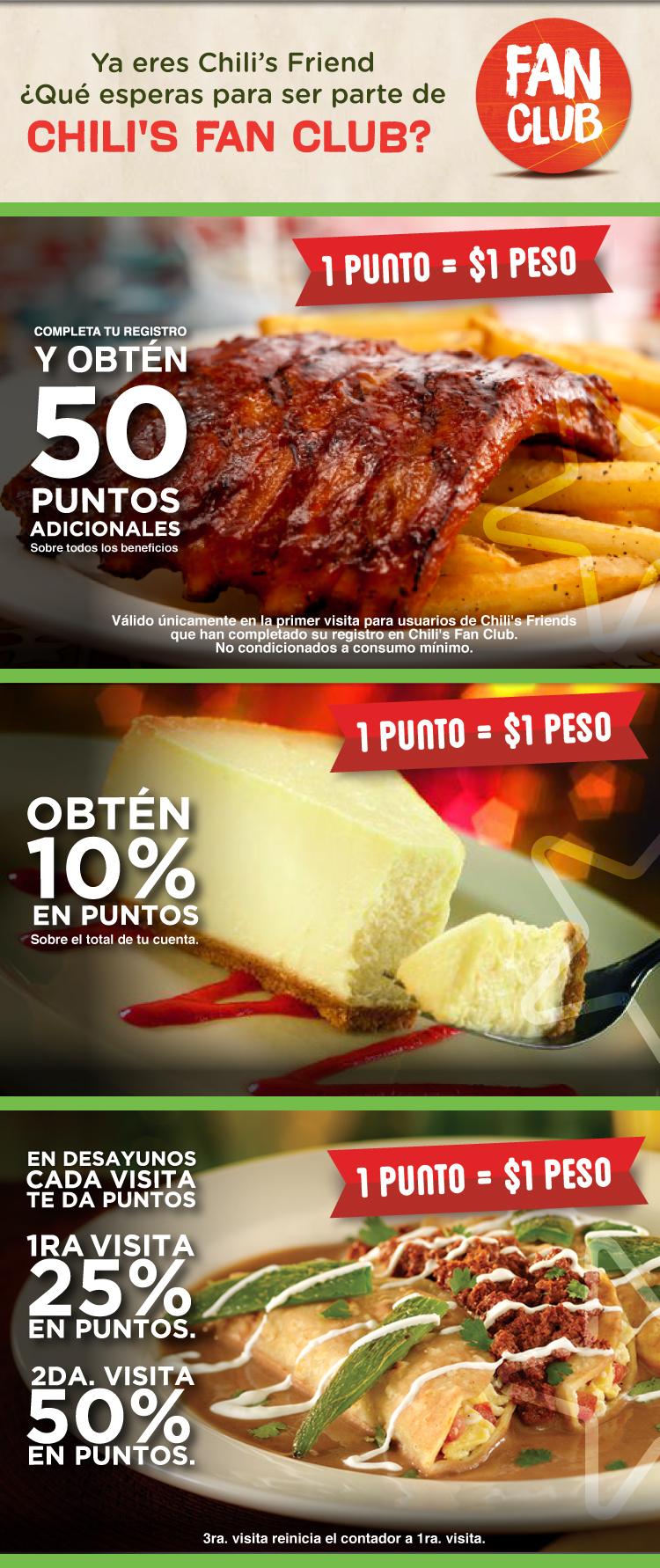 50% de bonificacion al desayunar en chilis