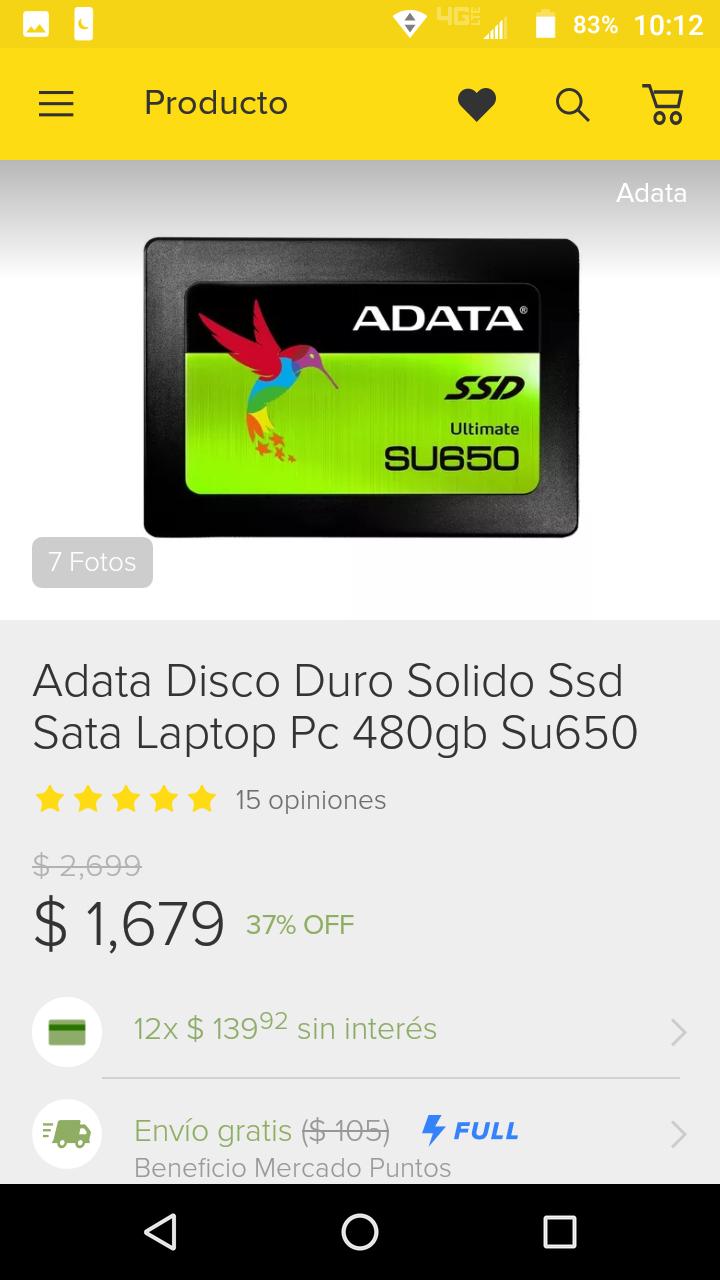 Tienda Oficial Adata en MercadoLibre: Ssd 480gb Su650