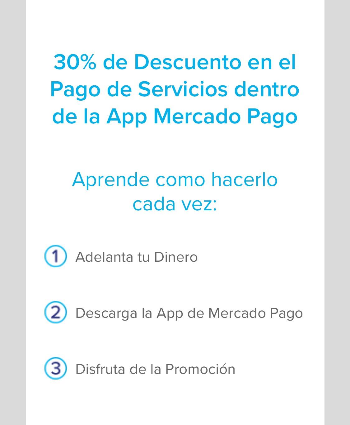 MERCADO PAGO. Pago de Servicios 30%, si adelantas tu dinero. USUARIOS NUEVOS
