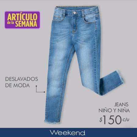 Suburbia: Artículo de la Semana: Jeans para niño y niña Weekend $150 c/u