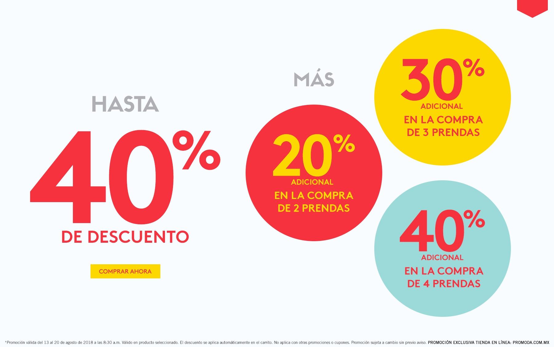 Promoda Online: Hasta 40% de descuento más descuentos escalonados del 20% al 40% adicional
