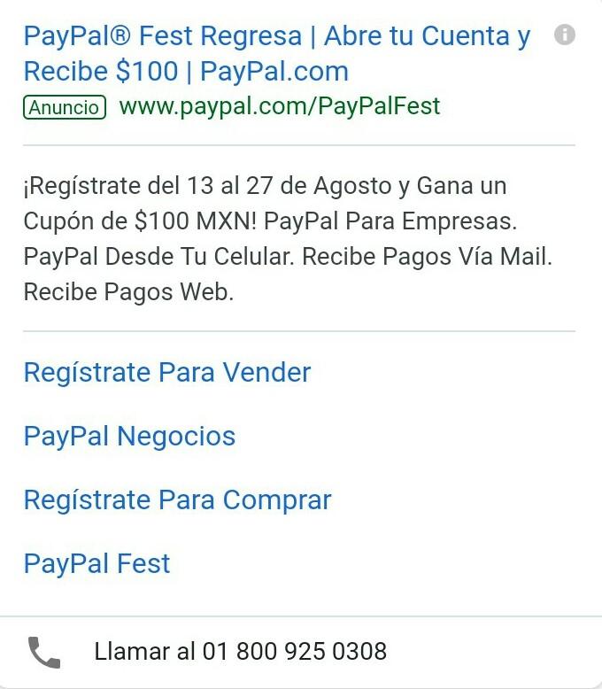 Paypal: $100 gratis en cupon al abrir cuenta nueva del 13 al 27 de Agosto