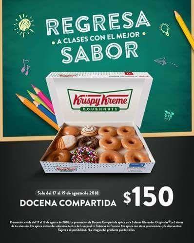 Krispy Kreme: Docena compartida $150 del 17 de Agosto al 19 agosto 2018.