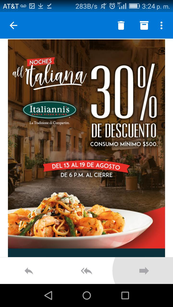 Wow Rewards: 30% de descuento en Italianni's con tarjeta WOW
