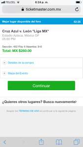 Ticketmaster: Fan Cruz Azul: 4 Boletos X $260