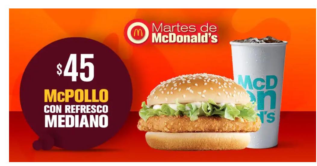 McDonald's: McPollo con refresco mediano por $45.00!