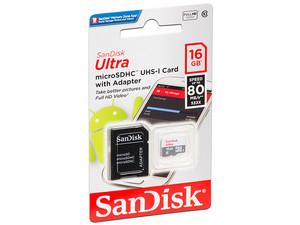 PCEL: Memoria SanDisk Micro SDHC UHS-I U1 de 16 GB, clase 10, Incluye adaptador SD.