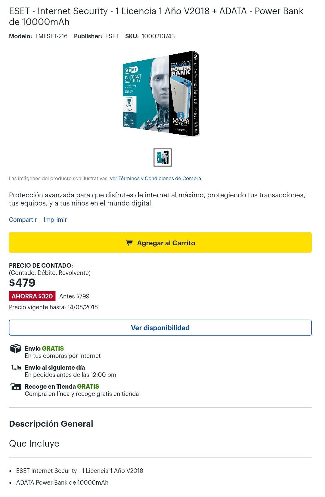 Best Buy: ESET Internet Security 1 año + PowerBank 10000mAh Adata