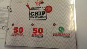 Virgin Mobile: chip, $50 de saldo, 50 minutos y Whatsapp por 1 mes a $50
