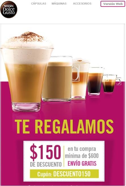 DOLCEGUSTO: Descuento de $150 en compra mínima de $600 + 10% Mercadopago