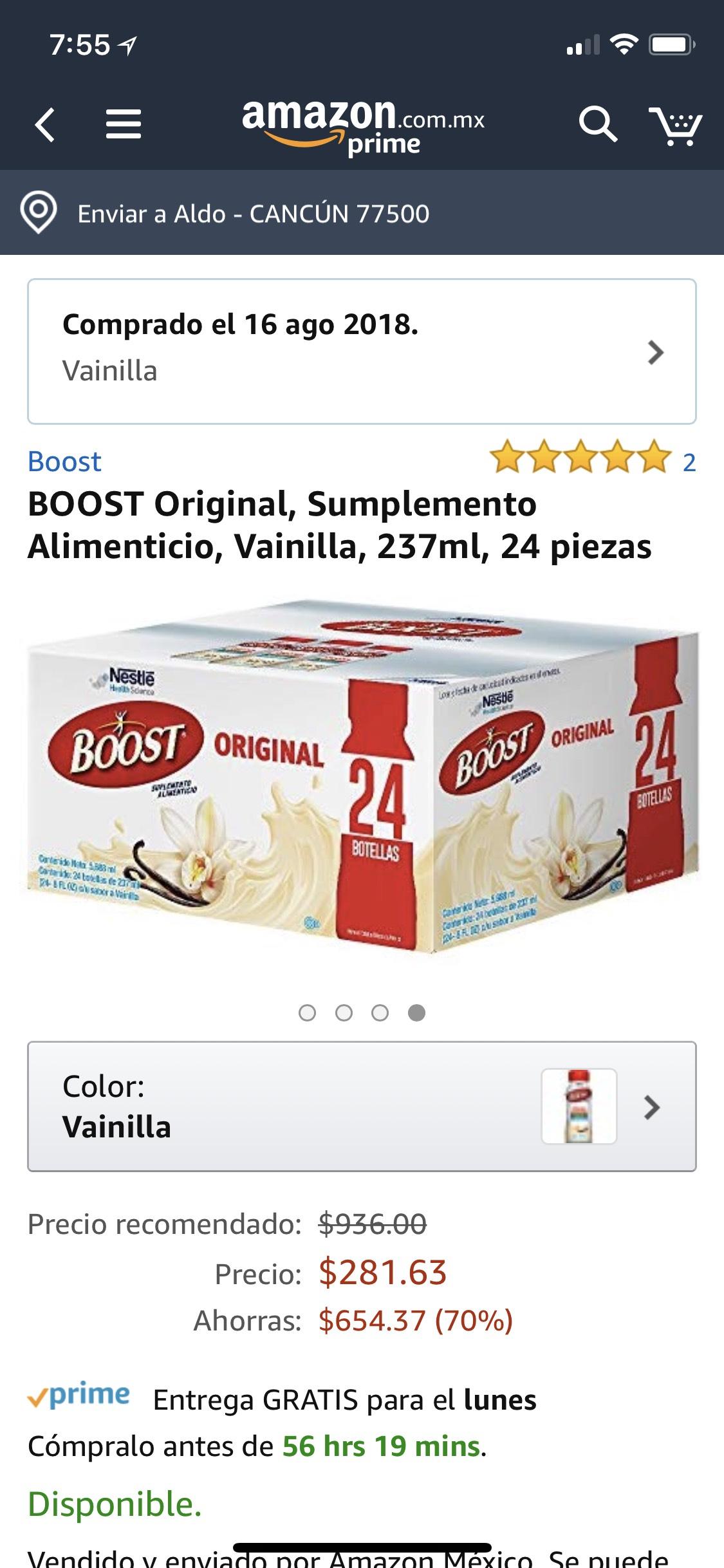 Amazon: suplemento alimenticio BOOST sabor vainilla