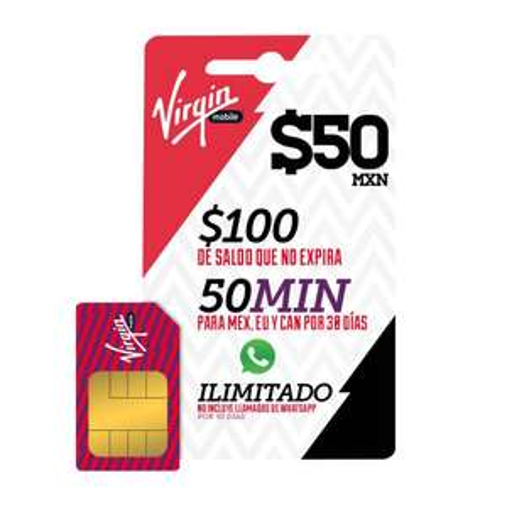 Walmart online Chip Virgin con $100 tiempo aire, 50 minutos y whatsapp ilimitado (envío gratis)
