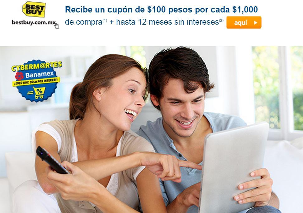 BEST BUY: Cupón de $100 ó $200 por cada 1000 + meses sin intereses con banamex