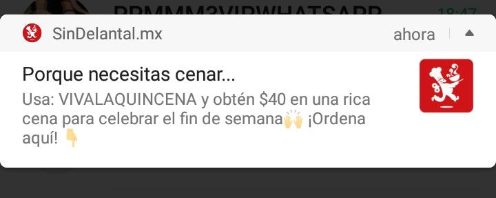 SinDelantal: cupón $40 en pedido de $80