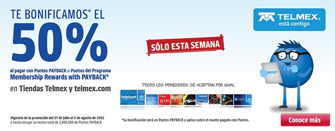Tienda Telmex: 50% de bonificación pagando con Puntos Payback o Membership Rewards