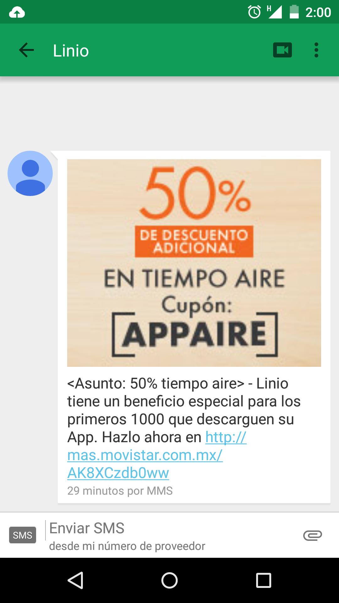 Linio app 50% en tiempo aire en Movistar
