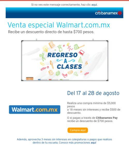 Walmart: 500 o 700 de descuento al pagar con Citibanamex