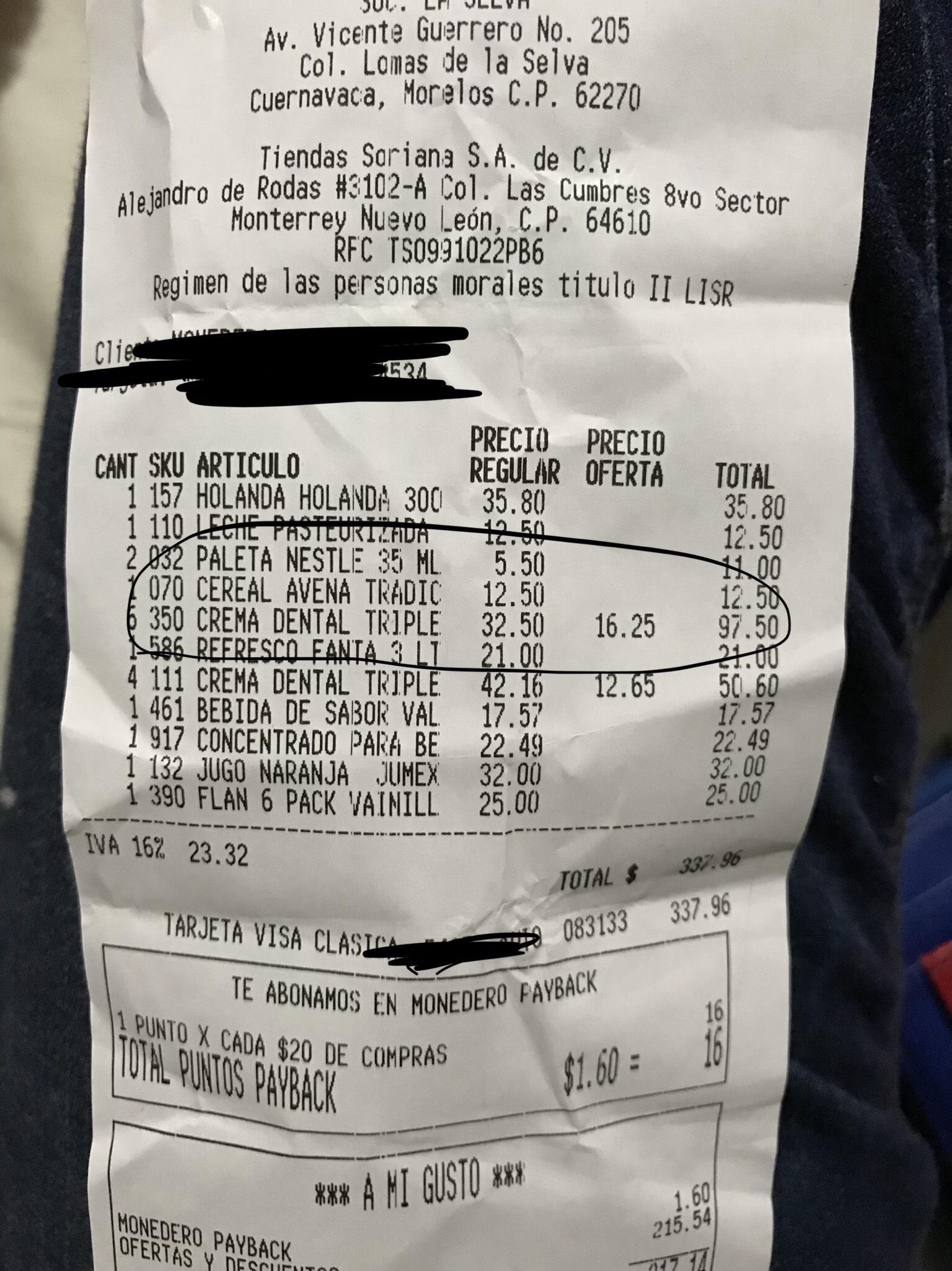 Soriana: Creme dental Triple acción 150 $16.25 y 125 en $12.65