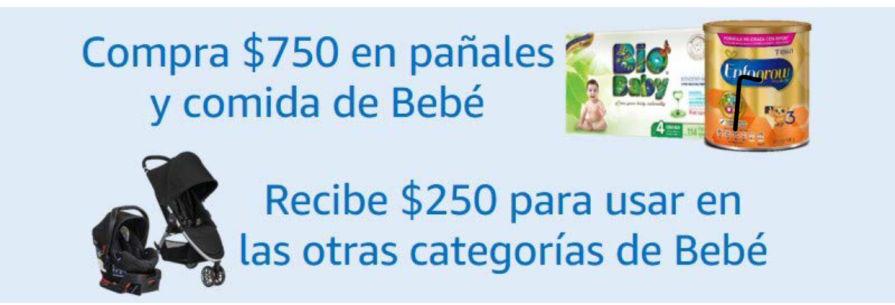 Amazon: Cashback de $250 al comprar $750 en pañales y fórmula para bebé