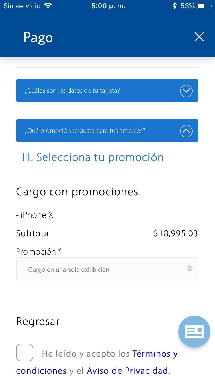 Sam's Club: iPhone X 64 GB a $19,582 ($18,995 con Inbursa)