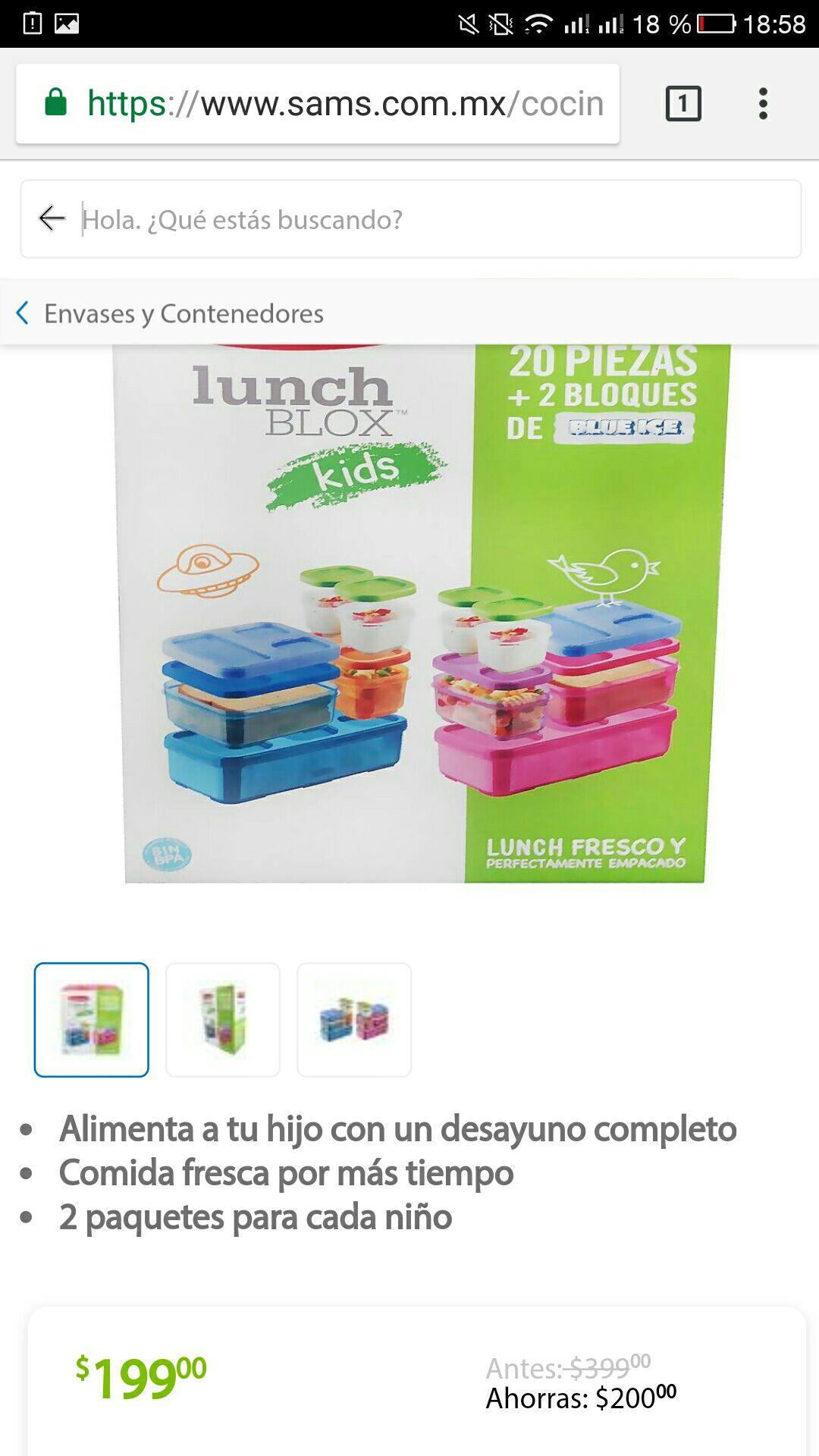 Sam's club online: set 20 recipientes rubbermaid Lunch niños de $399 a $199