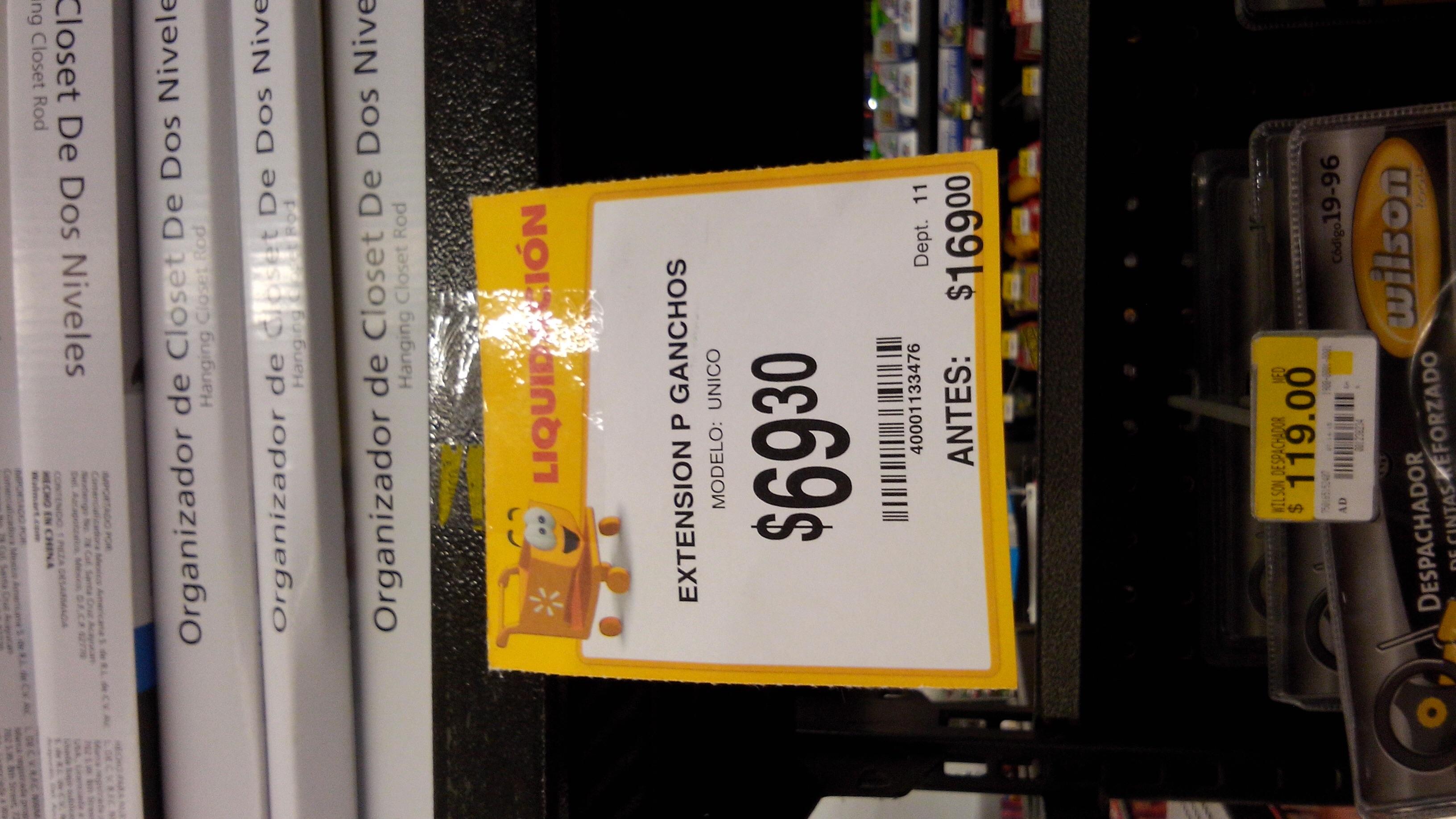 Walmart: Organizador de closet de 2 niveles $69.30