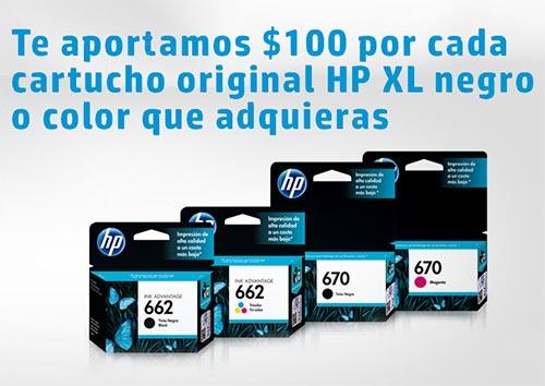 HP: Cartuchos XL(*) con 100 pesos de descuento en tiendas participantes. Solo hasta el 31 de Julio. Si pestañeas te la pierdes!