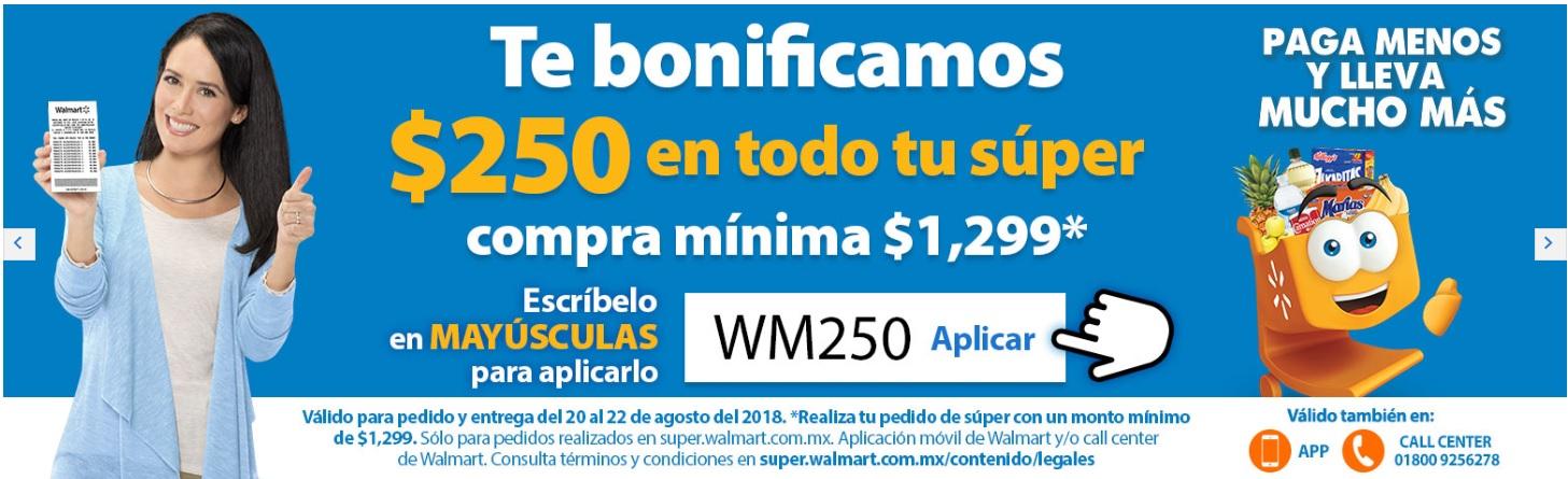 Walmart Super: descuento de $250 en compras mayores a $1299