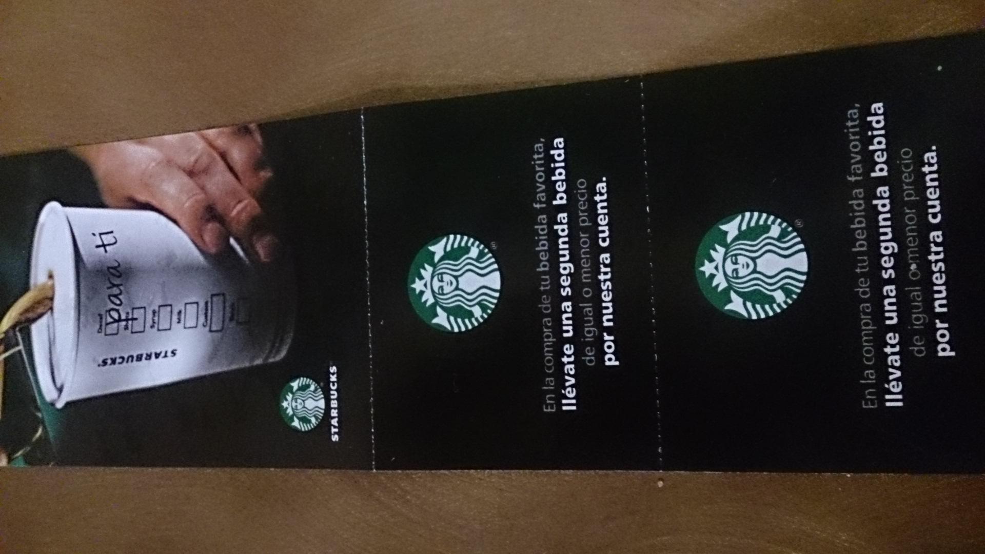 Cupón de 2x1 en Starbucks al comprar en Burger King