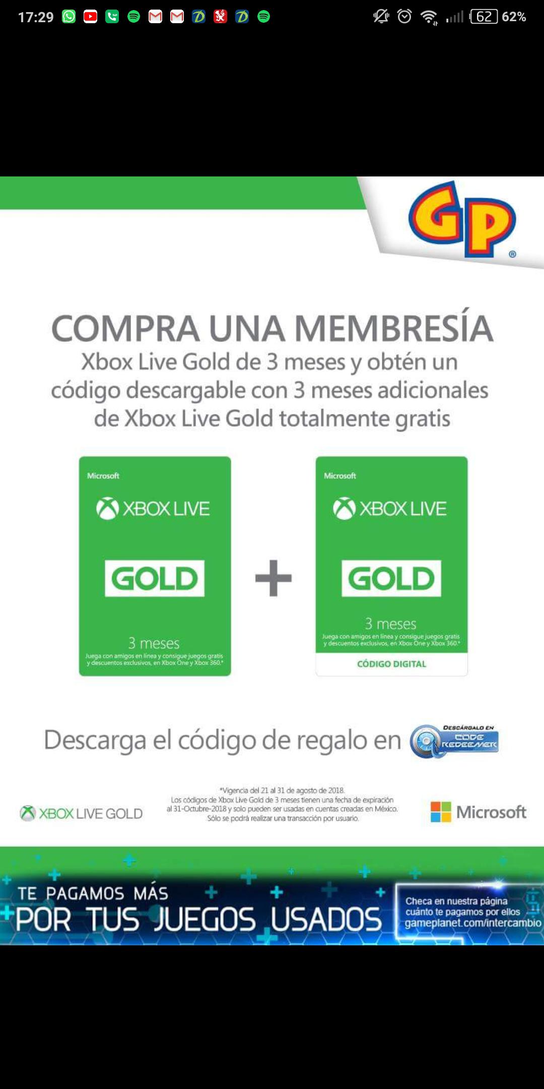 Game Planet: Xbox live 3 meses + 3 meses de regalo