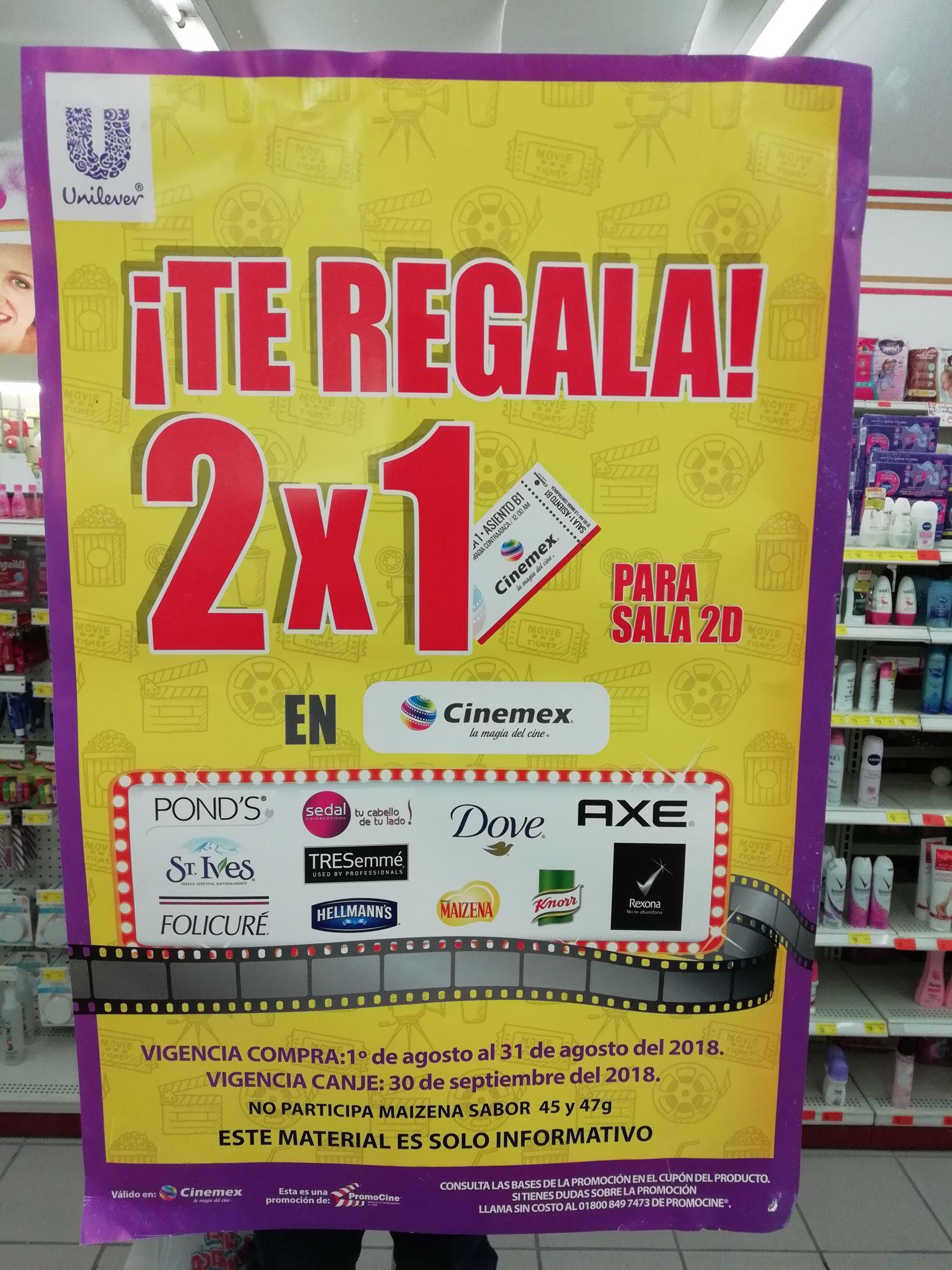 Farmacias Guadalajara: Compra productos Unilever y obtén 2x1 en Cinemex