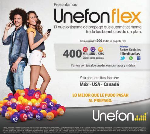 Unefon flex prepago: $200 por redes sociales, 200MB y 200 minutos en MX, USA y Canadá