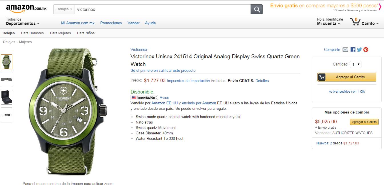 Amazon: Reloj Victorinox Original $1,727