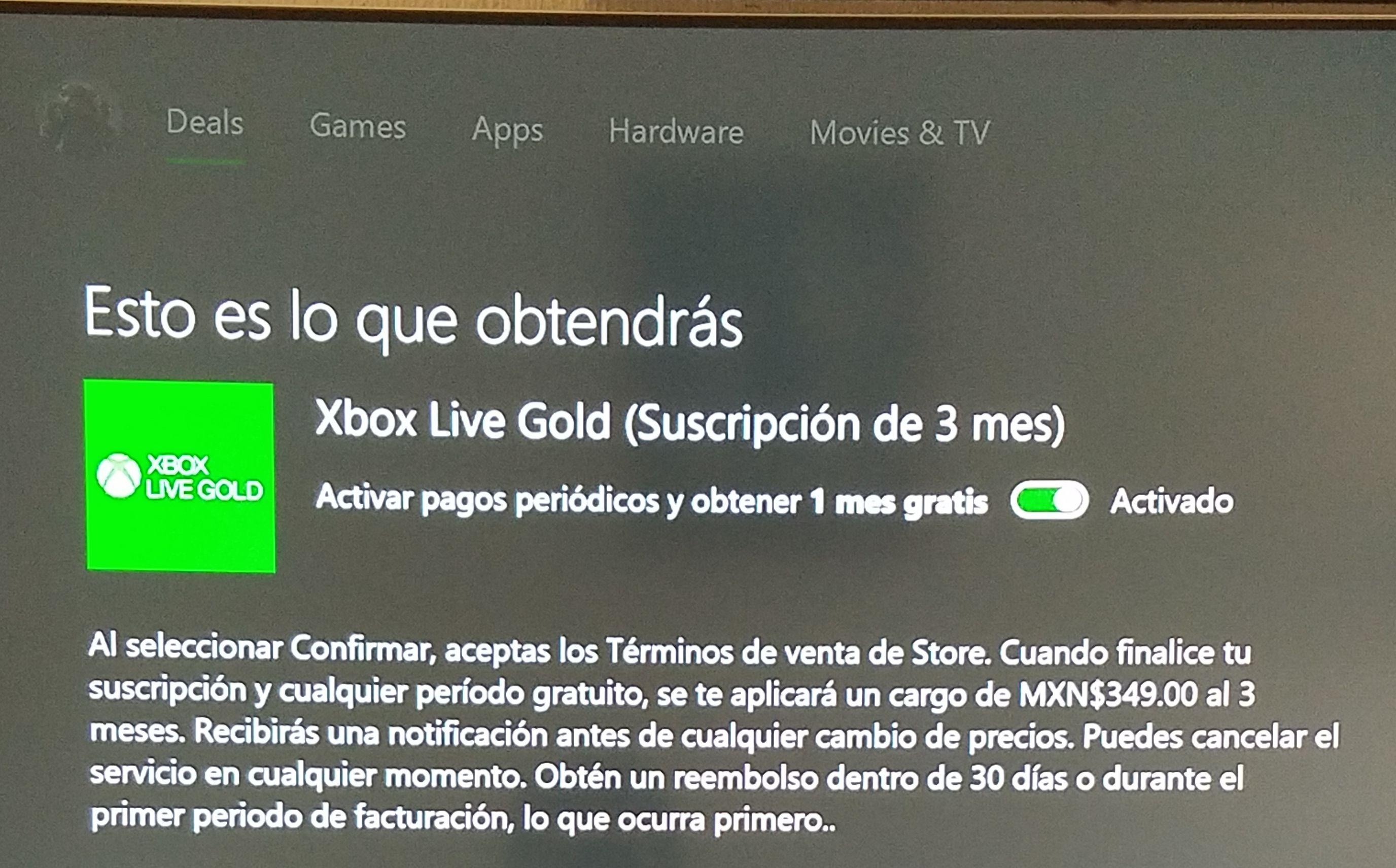 Xbox: XBOX GOLD. 1 mes de regalo al activar pagos Periódicos.