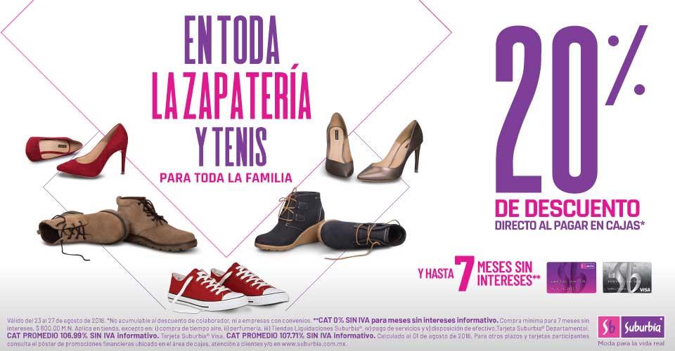 Suburbia: 20% de descuento directo al pagar en cajas en toda la zapatería y tenis para toda la familia