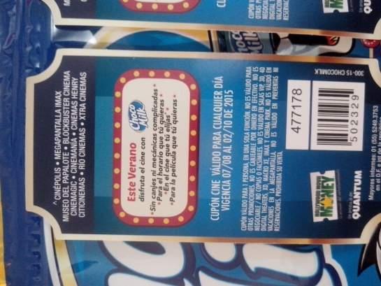 Boletos de cine gratis comprando Choco Milk