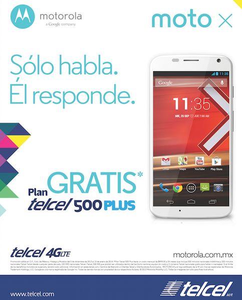 Telcel: Moto X gratis en plan Telcel 500 Plus (R9)
