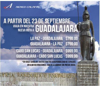 Aereocalafia: Guadalajara - La paz $790 , Guadalajara - Cabo San Lucas $999