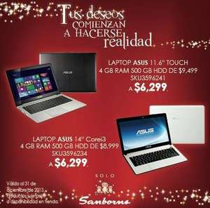 Sanborns: laptop Asus con Intel Core i3 $6,299