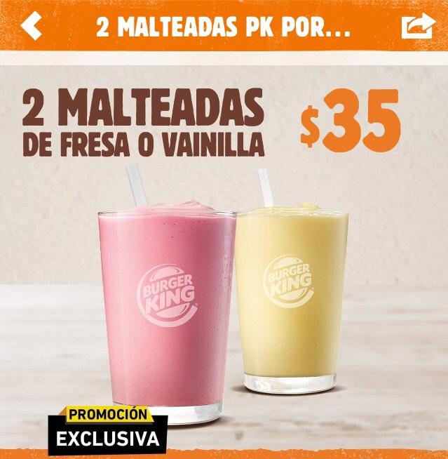 Burger King: 2 malteadas por $35